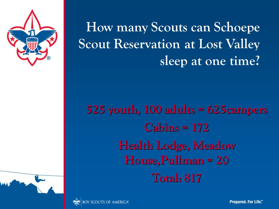 525 youth, 100 adults = 625campers Cabins = 172 Health Lodge, Meadow House,Pullman = 20 Total: 817 How many Scouts can Schoepe Scout Reservation at Lost Valley sleep at one time