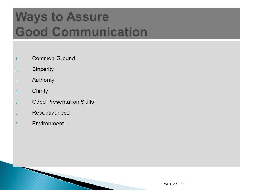1. Common Ground 2. Sincerity 3. Authority 4. Clarity 5.