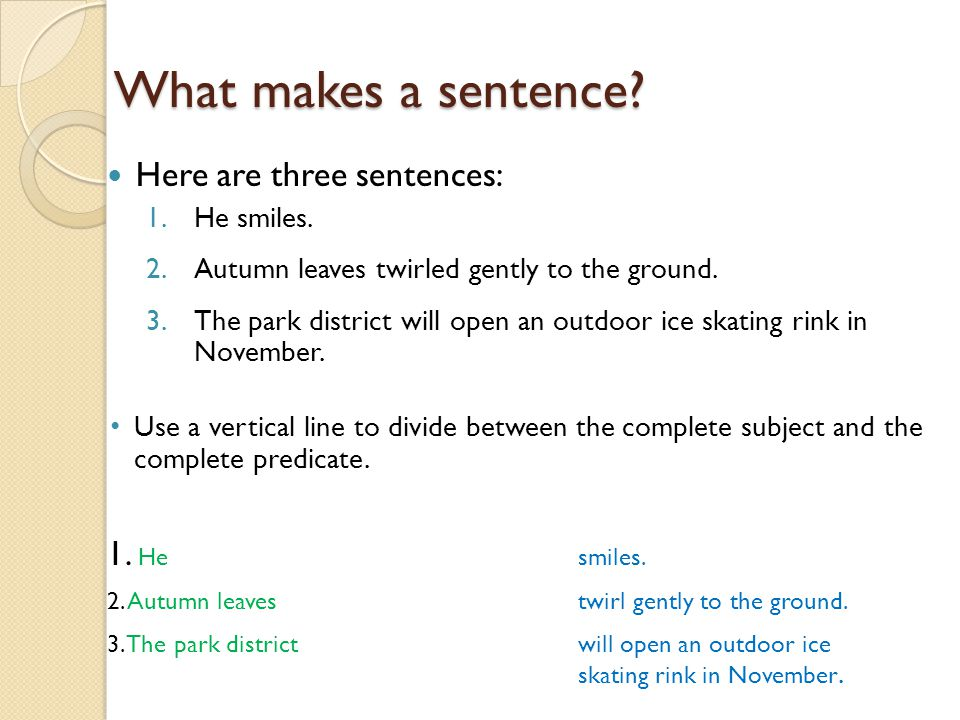 Subject and Predicate review Sentences have two parts – Complete Subject and Predicate Worksheet