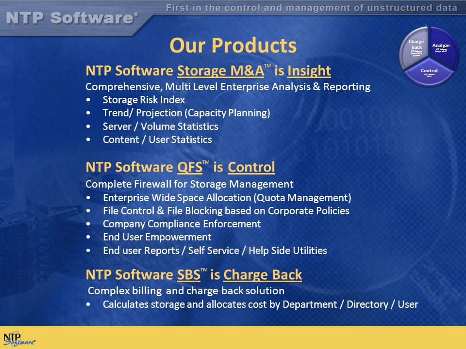 Our Products NTP Software Storage M&A TM is Insight Comprehensive, Multi Level Enterprise Analysis & Reporting Storage Risk Index Trend/ Projection (C