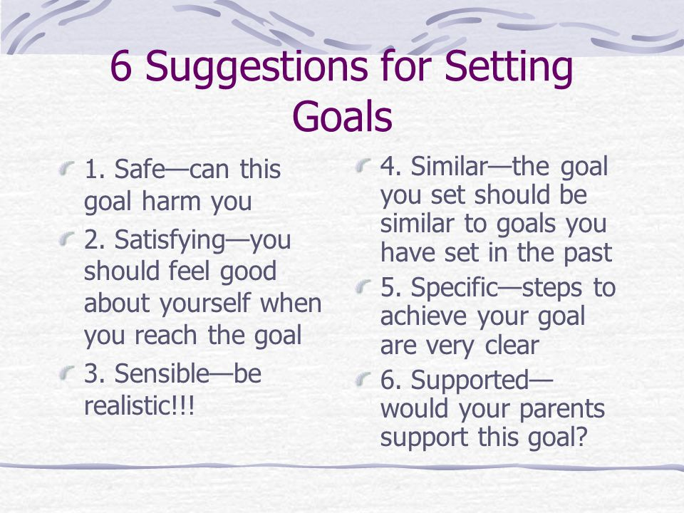 The 6 Steps in the Goal Setting Process 1. What is your goal.