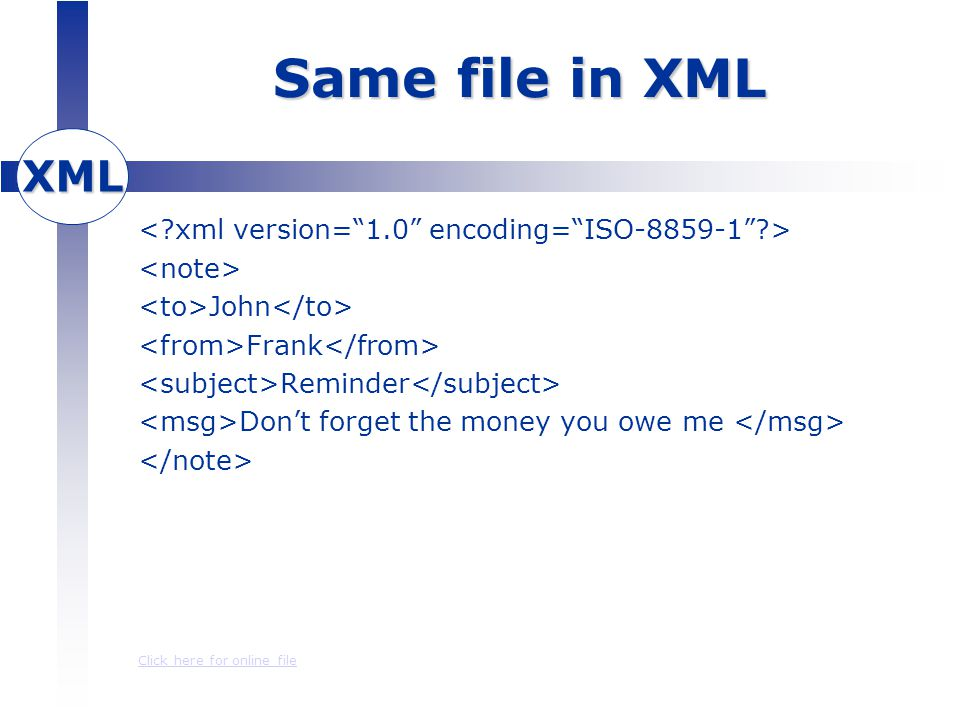 XML Same file in XML John Frank Reminder Don't forget the money you owe me Click here for online file