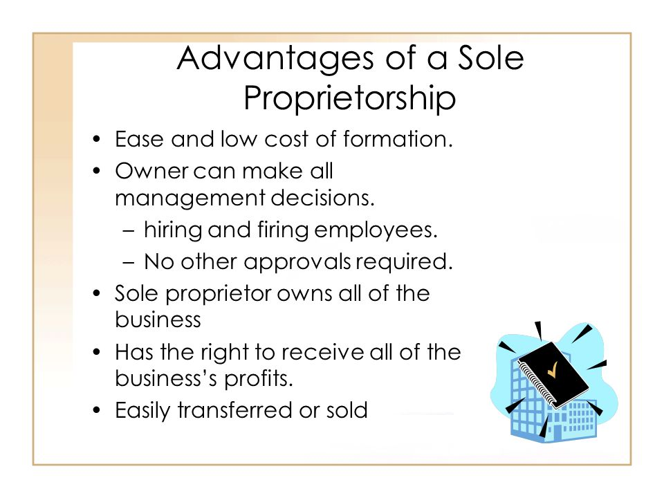 Advantages of a Sole Proprietorship Ease and low cost of formation.