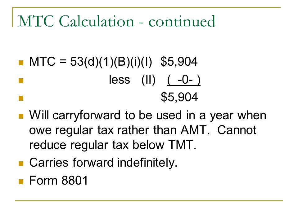 Alternative Minimum Tax Computation and MTC ISO Changes Planning ...