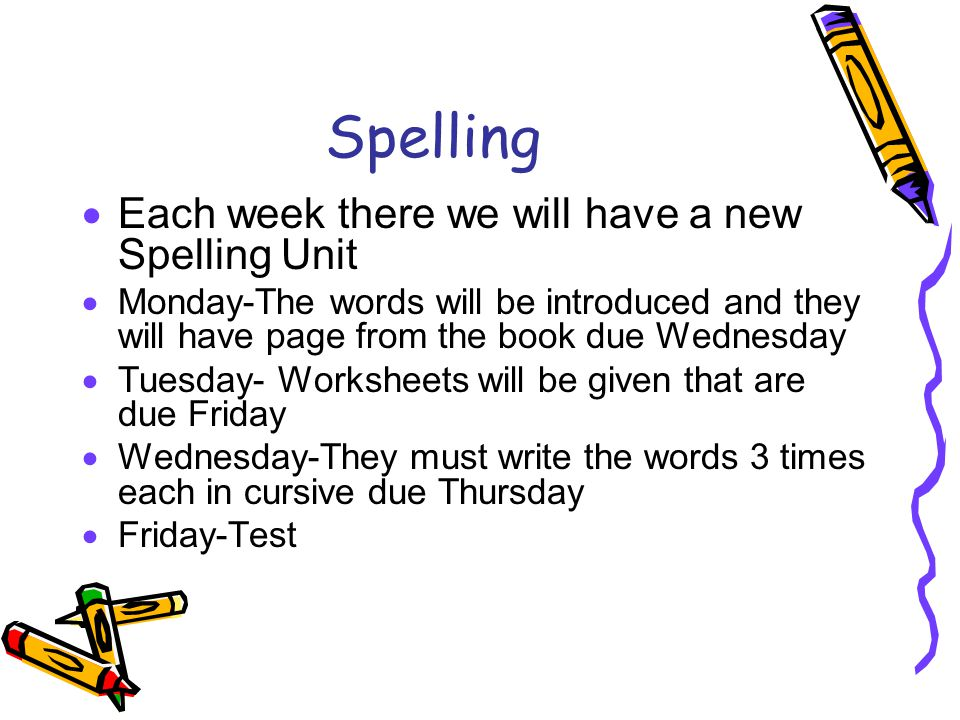 Spelling  Each week there we will have a new Spelling Unit  Monday-The words will be introduced and they will have page from the book due Wednesday  Tuesday- Worksheets will be given that are due Friday  Wednesday-They must write the words 3 times each in cursive due Thursday  Friday-Test