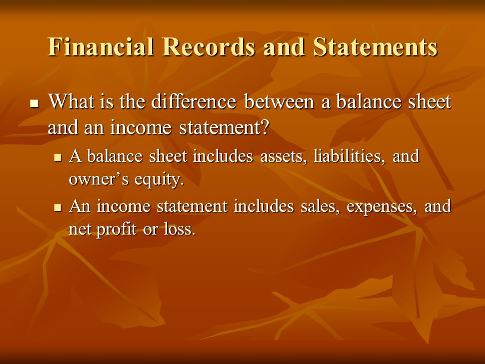 Financial Records and Statements What is the difference between a balance sheet and an income statement.