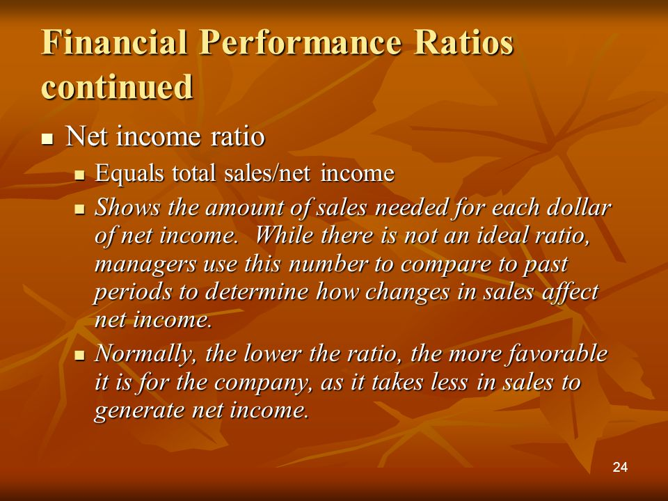 Financial Performance Ratios continued Net income ratio Net income ratio Equals total sales/net income Equals total sales/net income Shows the amount of sales needed for each dollar of net income.