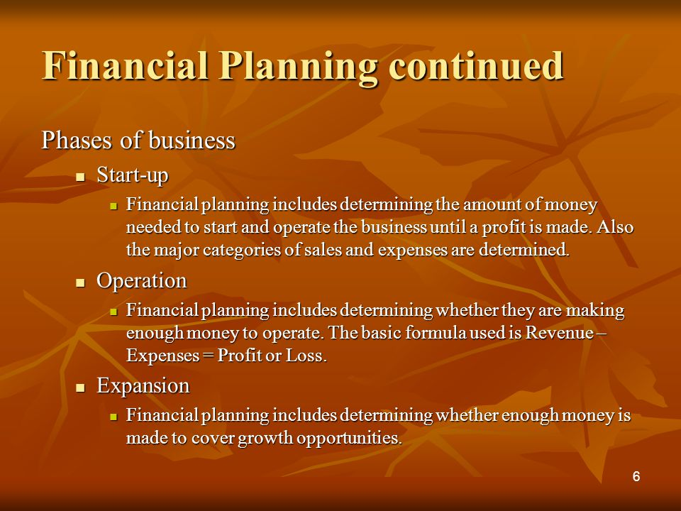 Financial Planning continued Phases of business Start-up Start-up Financial planning includes determining the amount of money needed to start and operate the business until a profit is made.