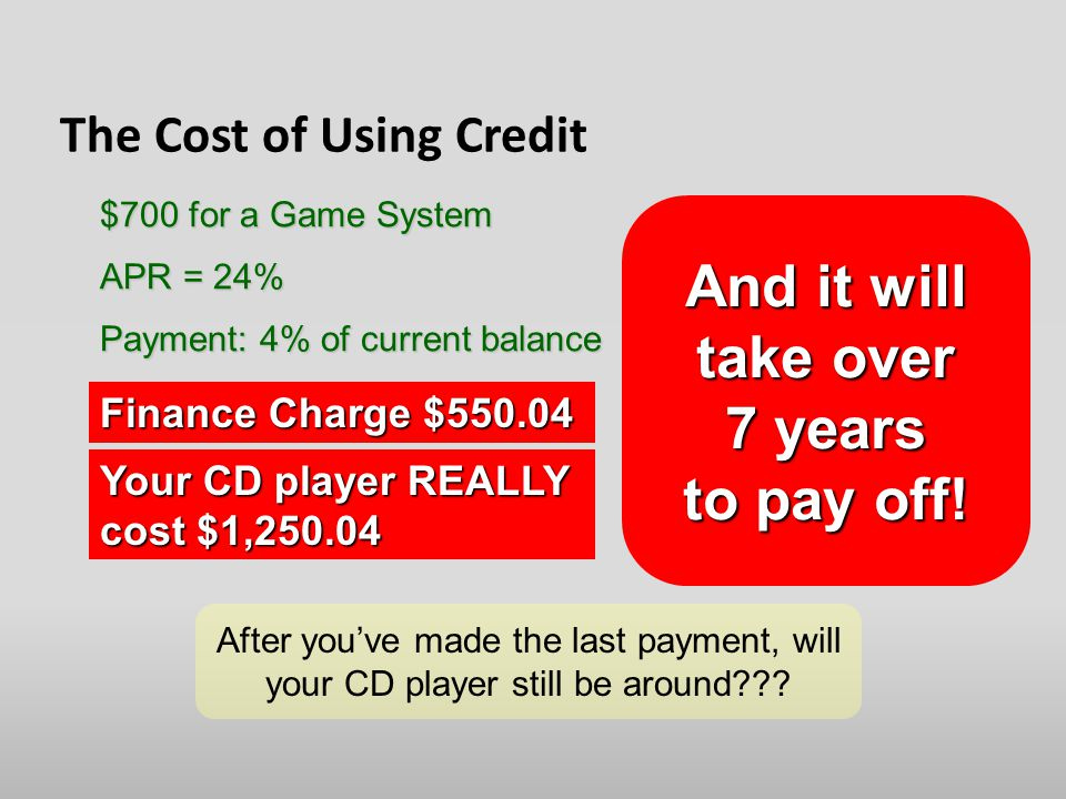 The Cost of Using Credit APR = 24% Payment: 4% of current balance $700 for a Game System Finance Charge $ Your CD player REALLY cost $1, After you've made the last payment, will your CD player still be around .