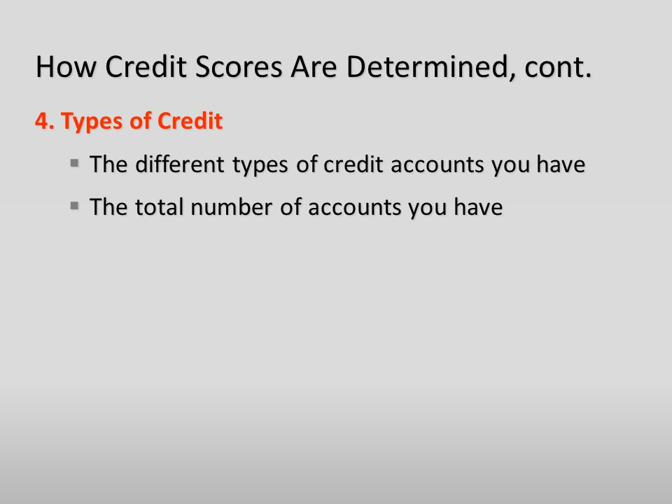 How Credit Scores Are Determined, cont. 4.