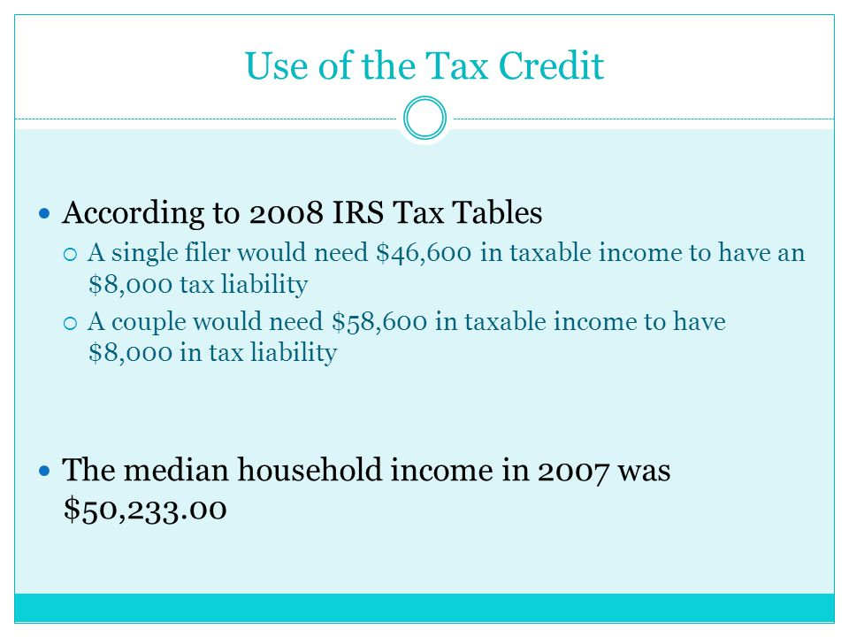 Use of the Tax Credit According to 2008 IRS Tax Tables  A single filer would need $46,600 in taxable income to have an $8,000 tax liability  A couple would need $58,600 in taxable income to have $8,000 in tax liability The median household income in 2007 was $50,233.00