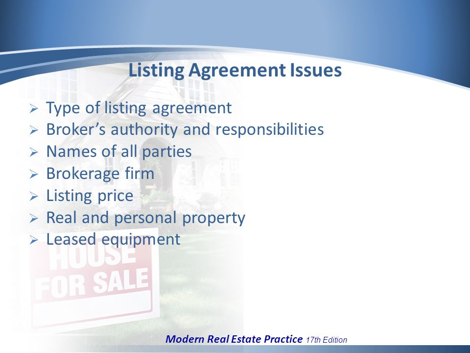 Chapter 6 listing agreements and buyer representation ppt download 10 listing agreement issues type of listing agreement brokers authority and responsibilities names of all parties brokerage firm listing platinumwayz