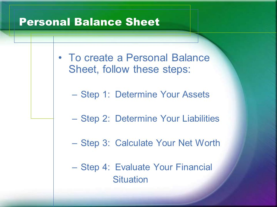 calculation of net worth from balance sheet