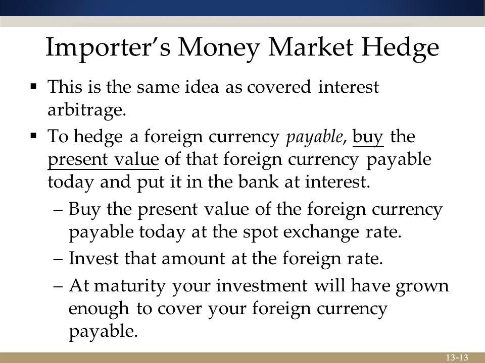 13-13 Importer's Money Market Hedge  This is the same idea as covered interest arbitrage.