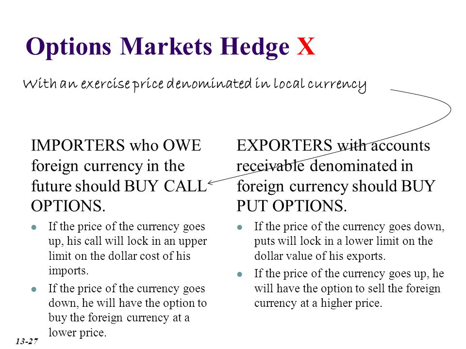 Options Markets Hedge X IMPORTERS who OWE foreign currency in the future should BUY CALL OPTIONS.