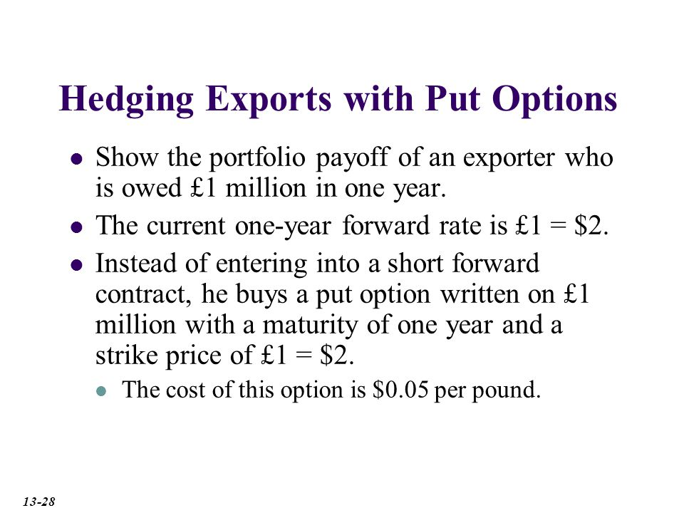 Hedging Exports with Put Options Show the portfolio payoff of an exporter who is owed £1 million in one year.