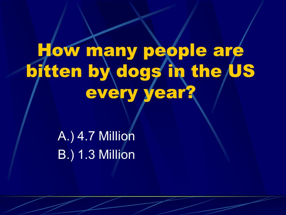 How many people are bitten by dogs in the US every year A.) 4.7 Million B.) 1.3 Million