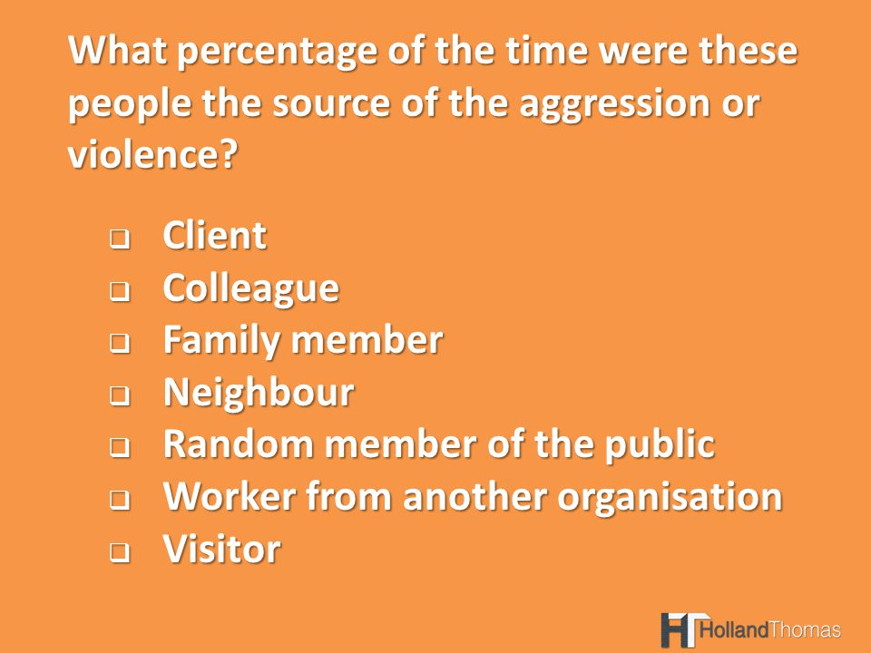 What percentage of the time were these people the source of the aggression or violence.