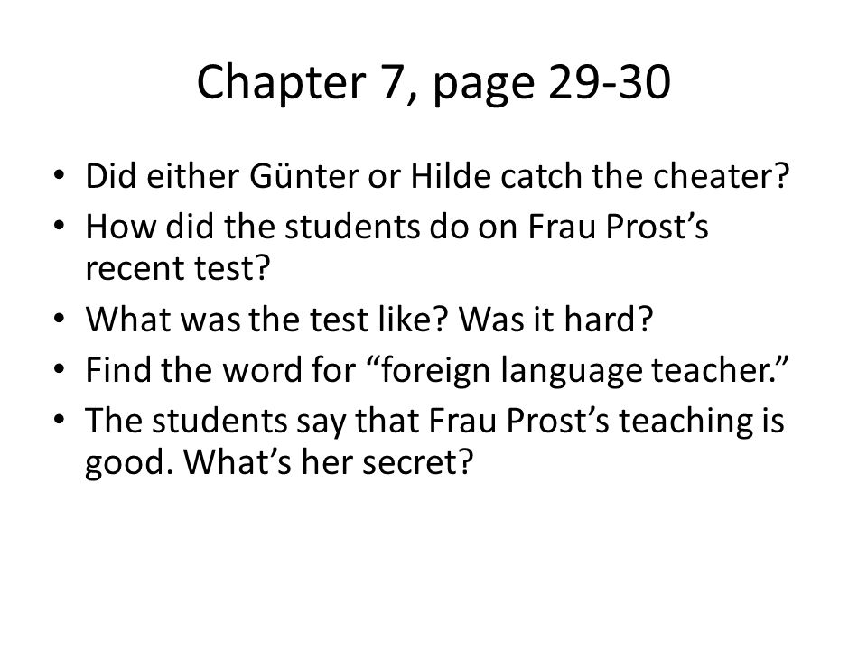 Chapter 7, page Did either Günter or Hilde catch the cheater.