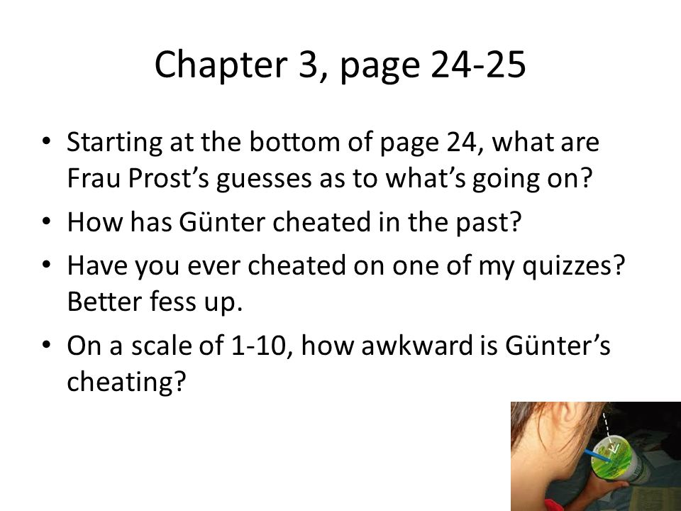 Chapter 3, page Starting at the bottom of page 24, what are Frau Prost's guesses as to what's going on.