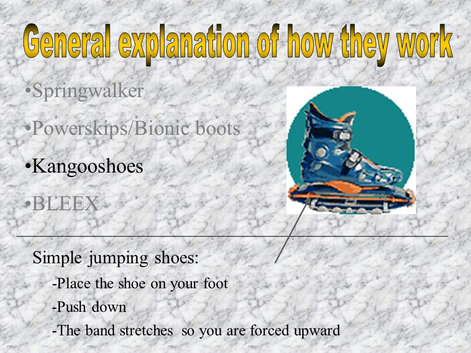 Springwalker Powerskips/Bionic boots Kangooshoes BLEEX _______________________________________________________ Simple jumping shoes: -Place the shoe on your foot -Push down -The band stretchesso you are forced upward
