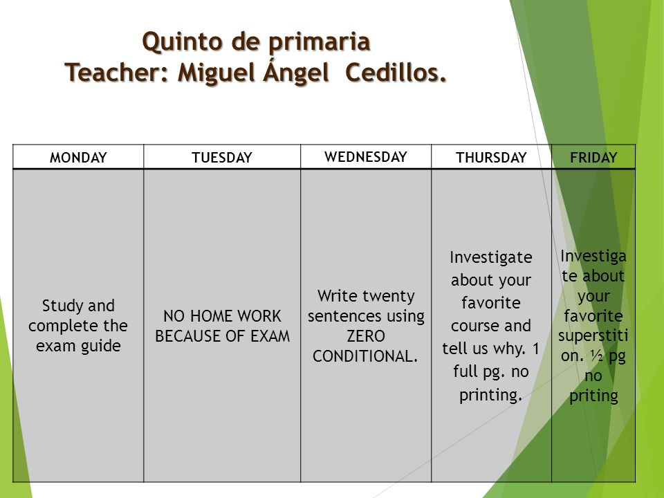 Quinto de primaria Teacher: Miguel Ángel Cedillos. MONDAYTUESDAY WEDNESDAY THURSDAYFRIDAY Study and complete the exam guide NO HOME WORK BECAUSE OF EX