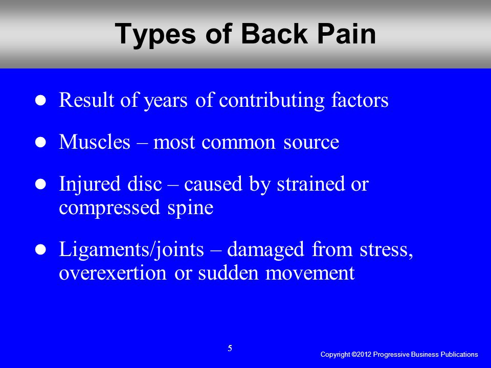 Copyright ©2012 Progressive Business Publications 5 Types of Back Pain Result of years of contributing factors Muscles – most common source Injured disc – caused by strained or compressed spine Ligaments/joints – damaged from stress, overexertion or sudden movement
