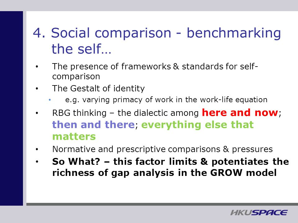 4. Social comparison - benchmarking the self… The presence of frameworks & standards for self- comparison The Gestalt of identity e.g. varying primacy