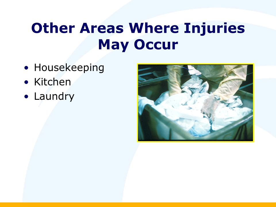 Other Areas Where Injuries May Occur Housekeeping Kitchen Laundry