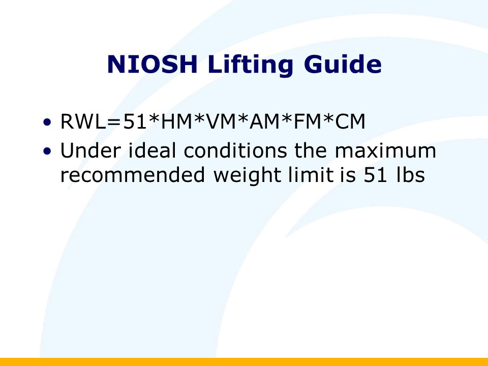 NIOSH Lifting Guide RWL=51*HM*VM*AM*FM*CM Under ideal conditions the maximum recommended weight limit is 51 lbs