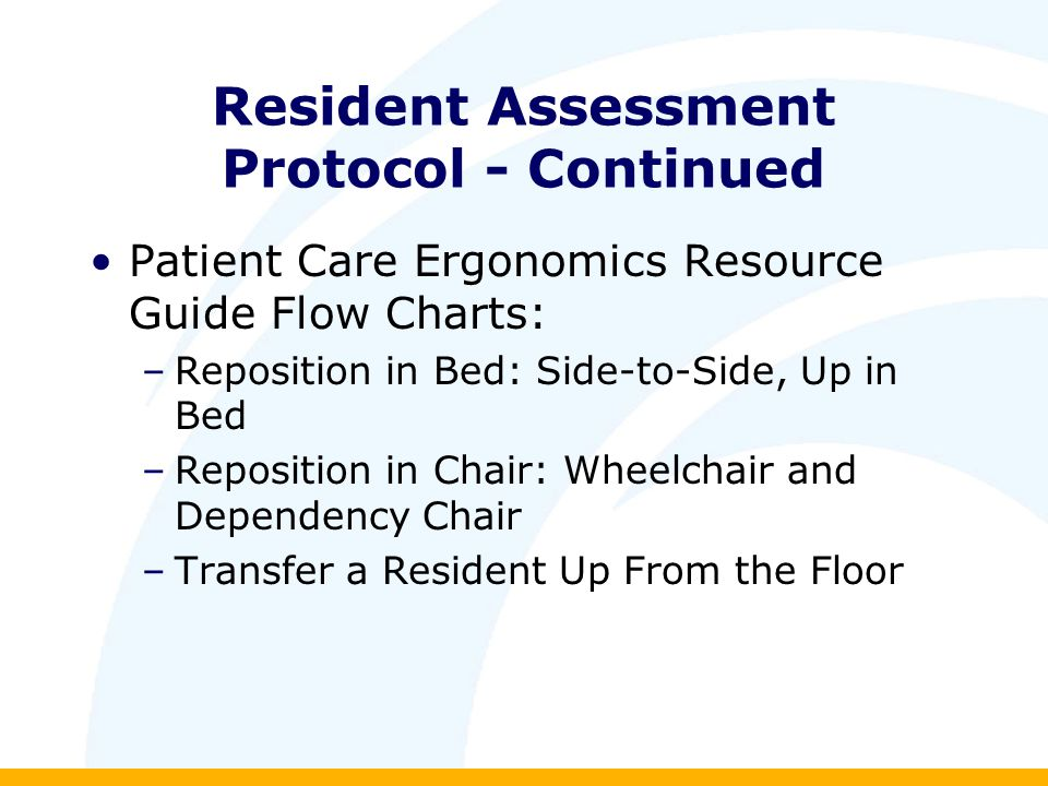 Resident Assessment Protocol - Continued Patient Care Ergonomics Resource Guide Flow Charts: –Reposition in Bed: Side-to-Side, Up in Bed –Reposition in Chair: Wheelchair and Dependency Chair –Transfer a Resident Up From the Floor