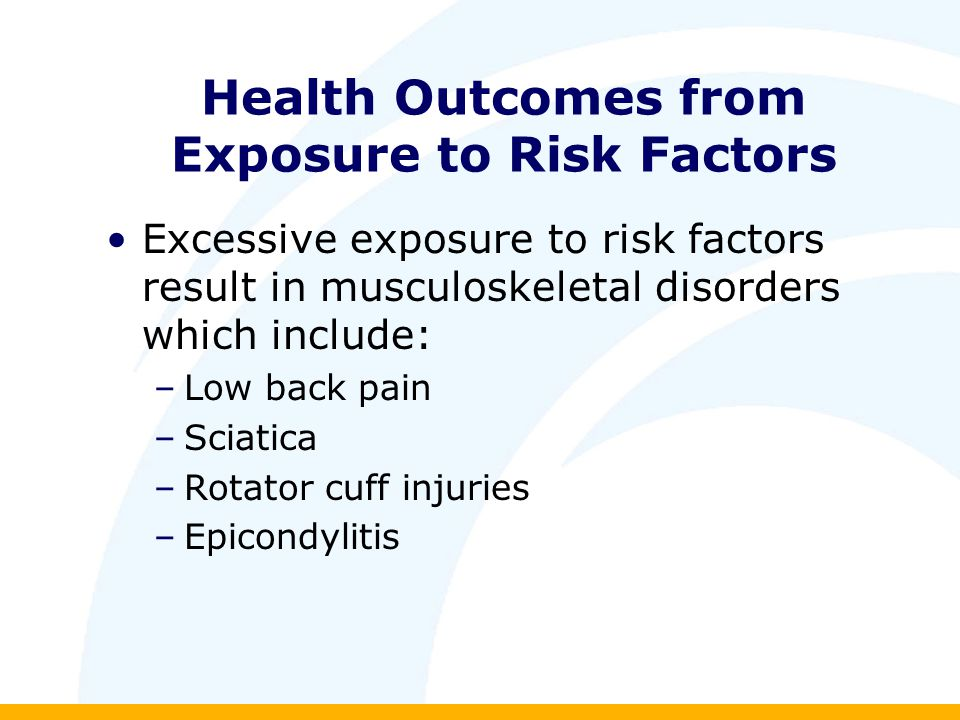 Health Outcomes from Exposure to Risk Factors Excessive exposure to risk factors result in musculoskeletal disorders which include: –Low back pain –Sciatica –Rotator cuff injuries –Epicondylitis
