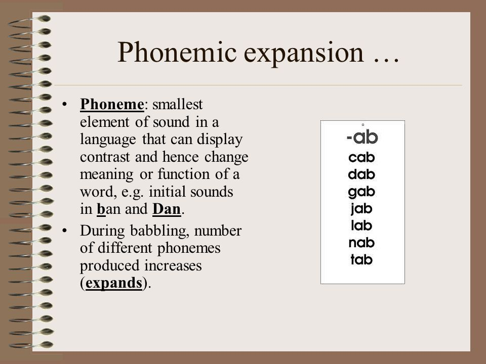 Phonemic expansion … Phoneme: smallest element of sound in a language that can display contrast and hence change meaning or function of a word, e.g.