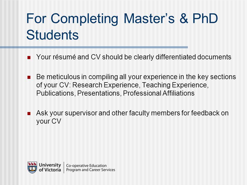 CVs & Résumés for Graduate Students Ian Robertson Lynn McCaughey ...