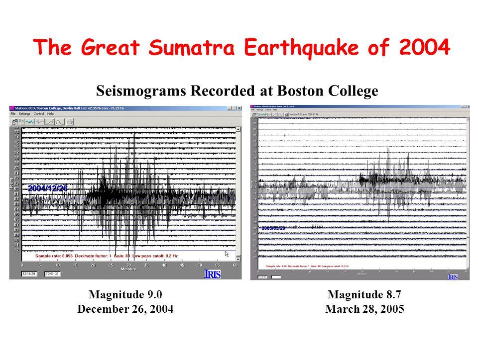The Great Sumatra Earthquake of 2004 Seismograms Recorded at Boston College Magnitude 9.0 December 26, 2004 Magnitude 8.7 March 28, 2005
