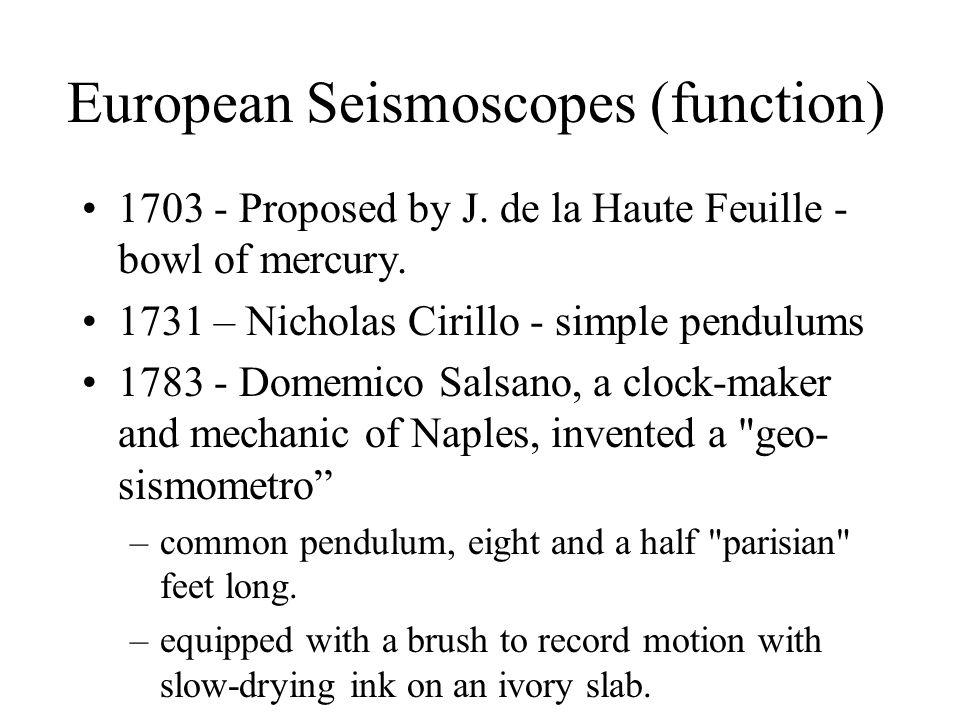 European Seismoscopes (function) 1703 - Proposed by J. de la Haute Feuille - bowl of mercury. 1731 – Nicholas Cirillo - simple pendulums 1783 - Domemi