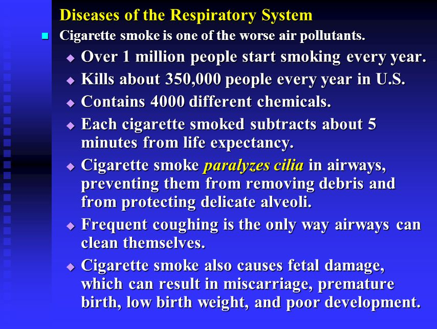 Diseases of the Respiratory System Cigarette smoke is one of the worse air pollutants.