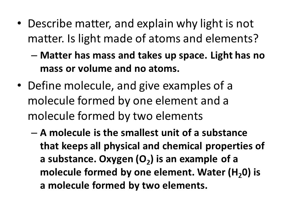 Homework Review State the relationship between atoms and elements.