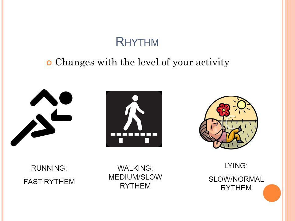 R HYTHM Changes with the level of your activity RUNNING: FAST RYTHEM WALKING: MEDIUM/SLOW RYTHEM LYING: SLOW/NORMAL RYTHEM