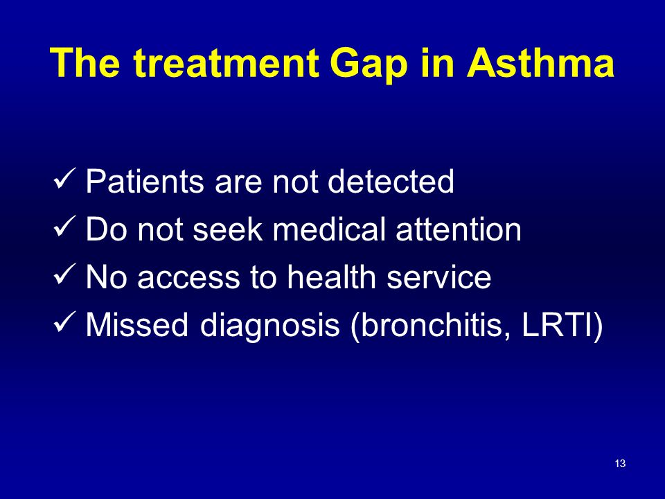 13 Patients are not detected Do not seek medical attention No access to health service Missed diagnosis (bronchitis, LRTI) The treatment Gap in Asthma