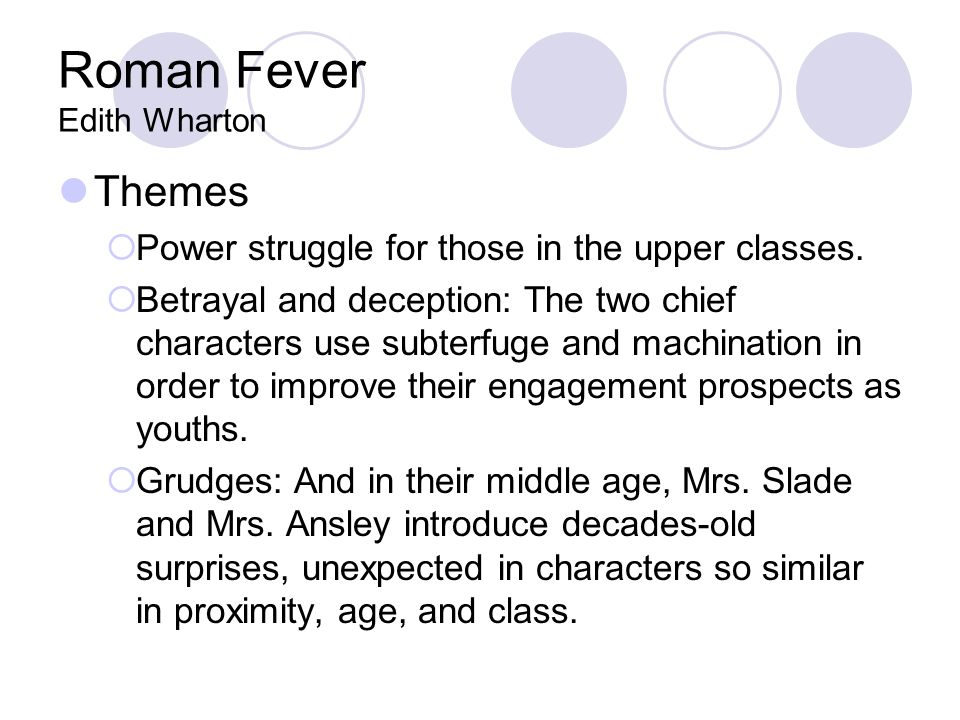 literary devices in roman fever by edith wharton