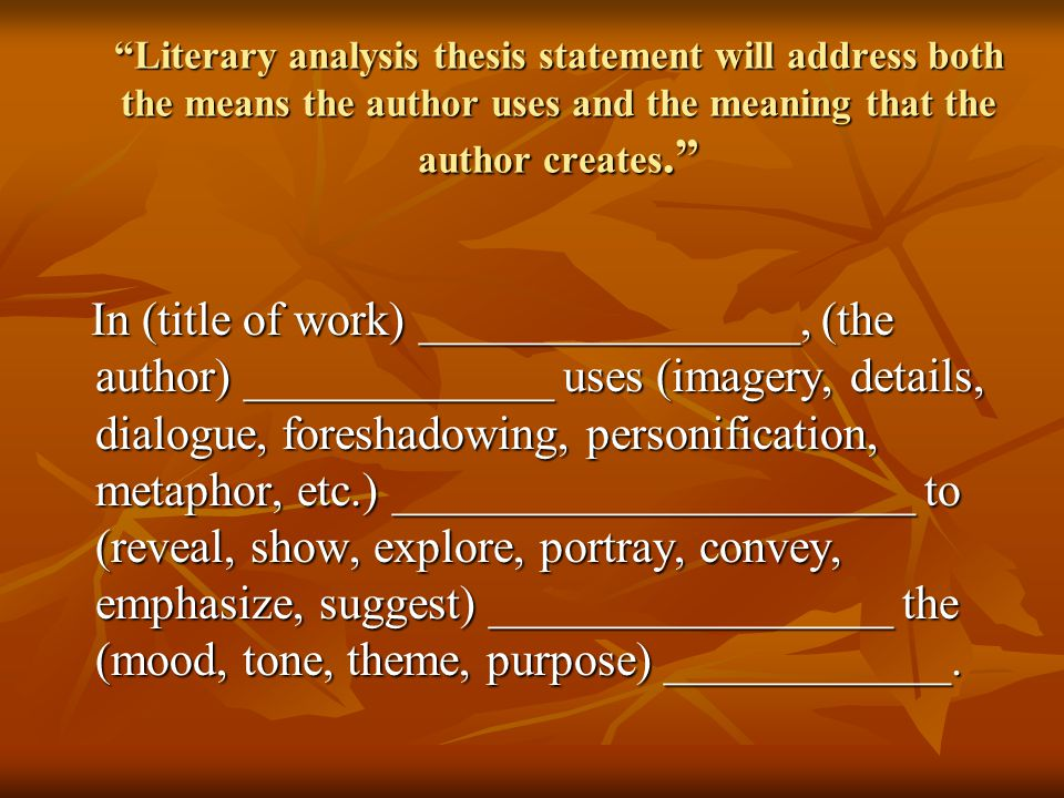 The Meaning Of Thesis Statement