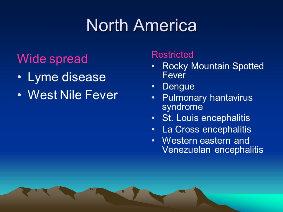 North America Wide spread Lyme disease West Nile Fever Restricted Rocky Mountain Spotted Fever Dengue Pulmonary hantavirus syndrome St.
