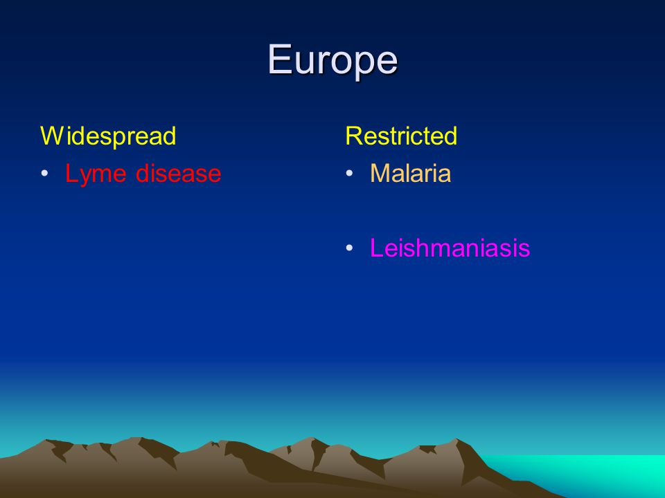 Europe Widespread Lyme disease Restricted Malaria Leishmaniasis