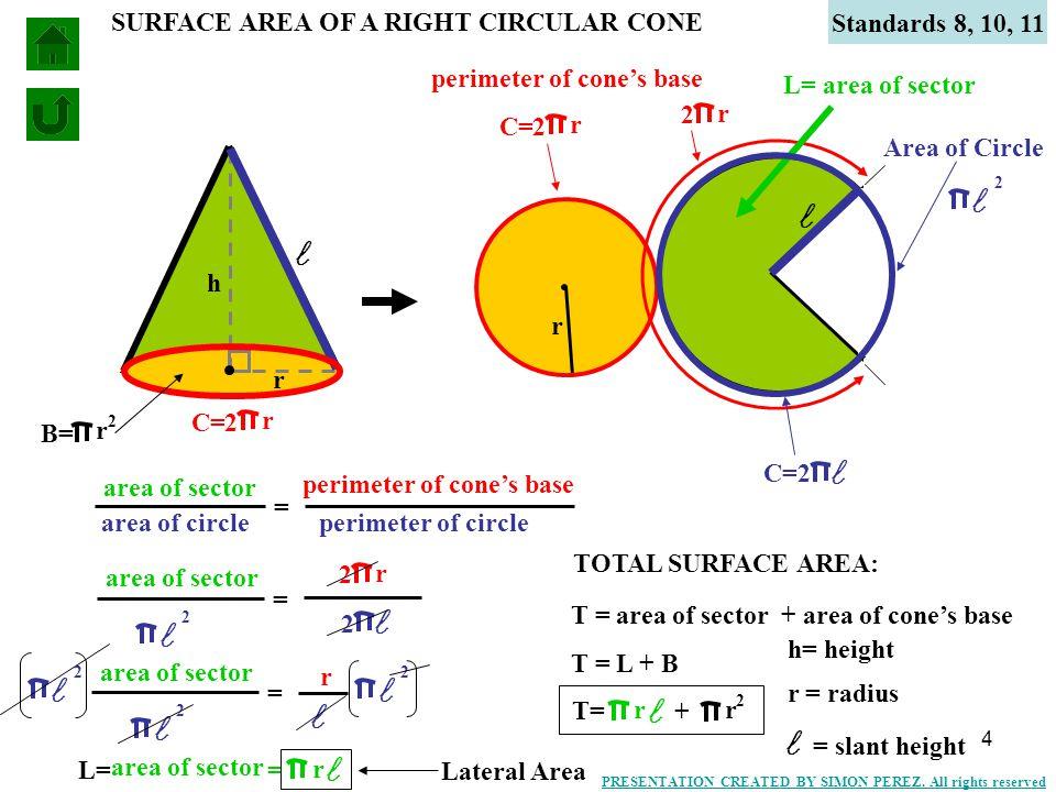 5 h r VOLUME OF A RIGHT CIRCULAR CONE Standards 8, 10, 11 2 r B= V = Bh 1 3 V = 2 r 1 3 h h= height r = radius PRESENTATION CREATED BY SIMON PEREZ.