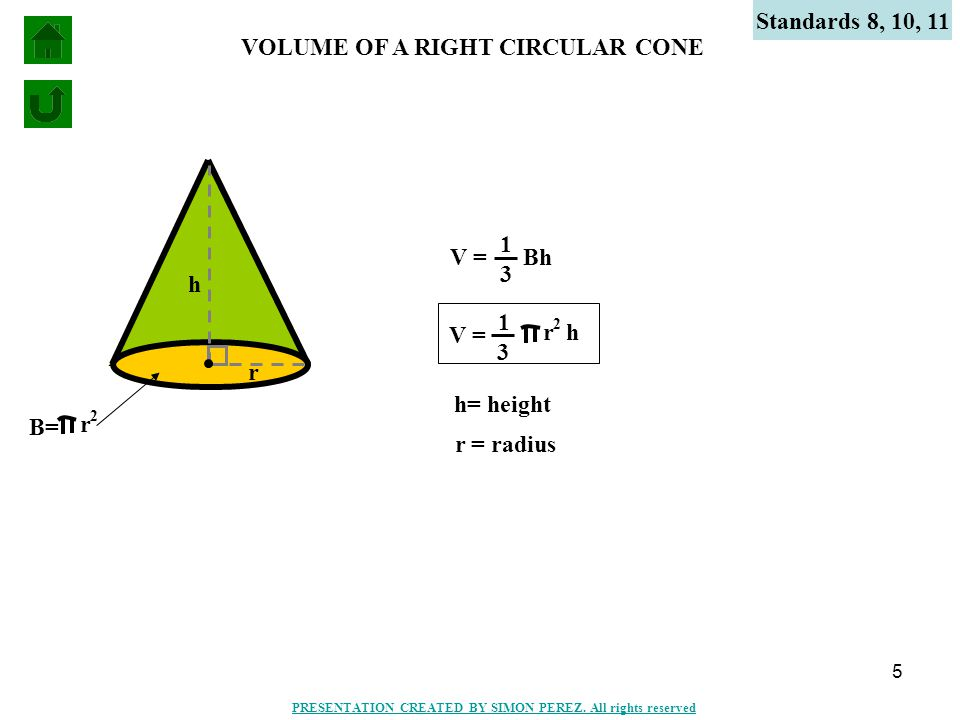 5 h r VOLUME OF A RIGHT CIRCULAR CONE Standards 8, 10, 11 2 r B= V = Bh 1 3 V = 2 r 1 3 h h= height r = radius PRESENTATION CREATED BY SIMON PEREZ. Al