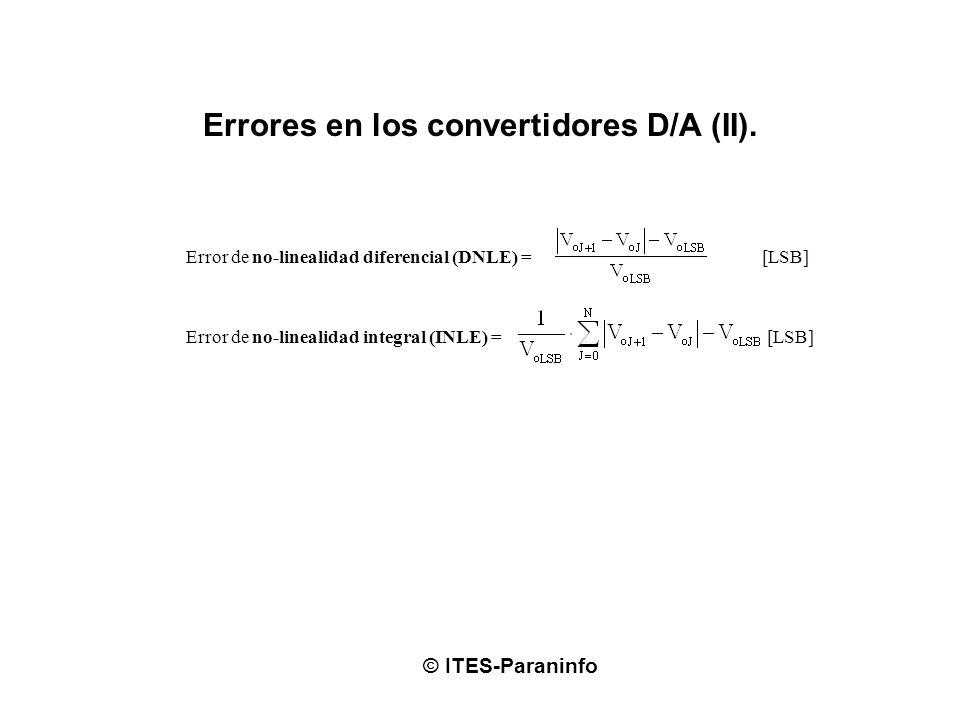 Errores en los convertidores D/A (II). © ITES-Paraninfo Error de no-linealidad diferencial (DNLE) = [LSB] Error de no-linealidad integral (INLE) = [LS
