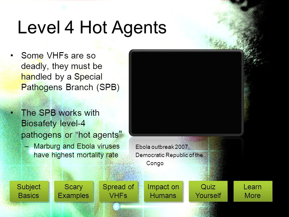 Level 4 Hot Agents Some VHFs are so deadly, they must be handled by a Special Pathogens Branch (SPB) The SPB works with Biosafety level-4 pathogens or hot agents –Marburg and Ebola viruses have highest mortality rate Ebola outbreak 2007, Democratic Republic of the Congo Subject Basics Subject Basics Scary Examples Scary Examples Spread of VHFs Spread of VHFs Impact on Humans Impact on Humans Quiz Yourself Quiz Yourself Learn More Learn More