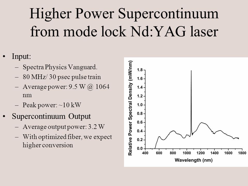 Higher Power Supercontinuum from mode lock Nd:YAG laser Input: –Spectra Physics Vanguard.