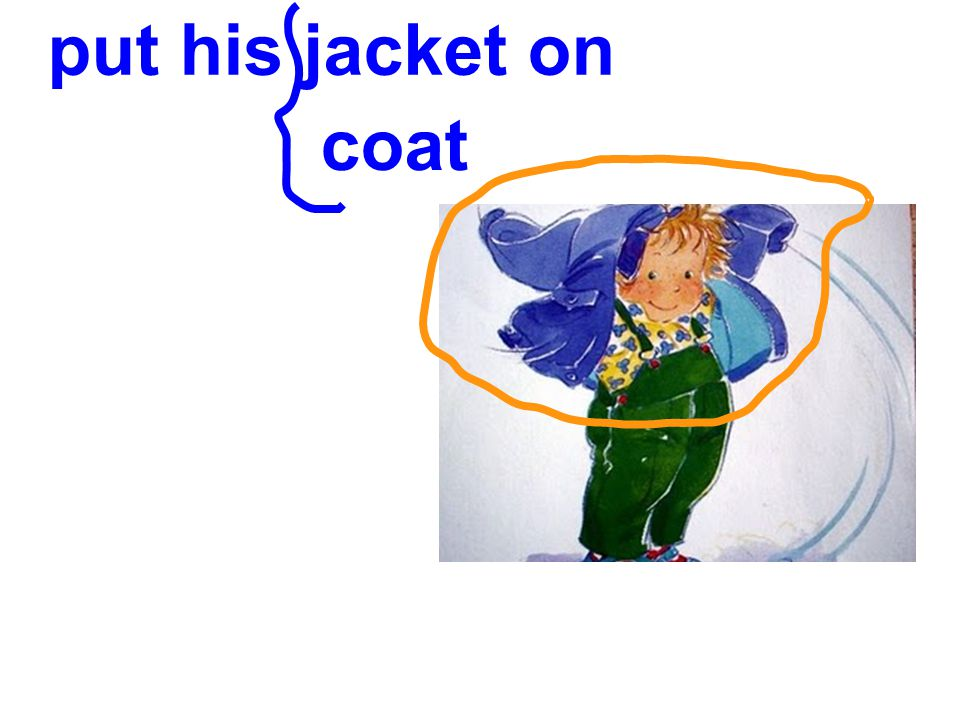 put his jacket on coat